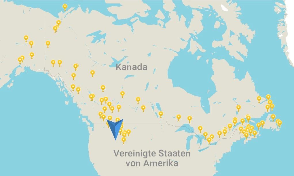 Eine Karte mit den Schlafplätzen entlang meiner Reiseroute